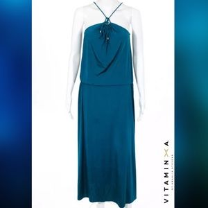 VITAMIN A Aqua Teal Casual Beach Halter Maxi Dress